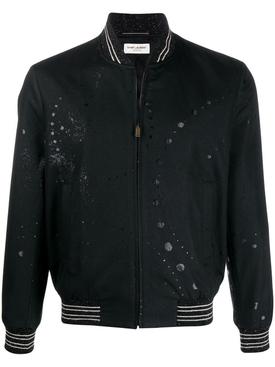 Galaxy Print Bomber Jacket Black