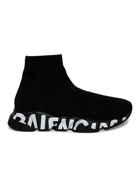 Speed Graffiti Knit Sneaker Black White