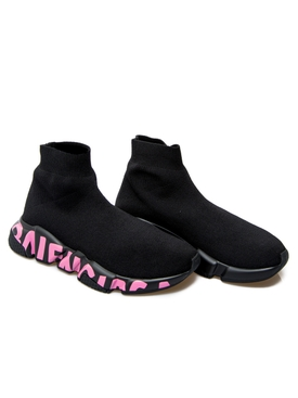 Speed Graffiti Knit Sneaker Black Pink
