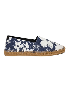 FLORAL PRINT ESPADRILLE, BLUE AND WHITE