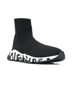 Graffiti Logo Speed Sock Sneaker BLACK WHITE BLACK