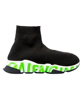BLACK AND FLUORESCENT GREEN SPEED SNEAKER
