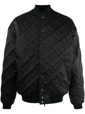 Embossed Logo Print Bomber Jacket Black