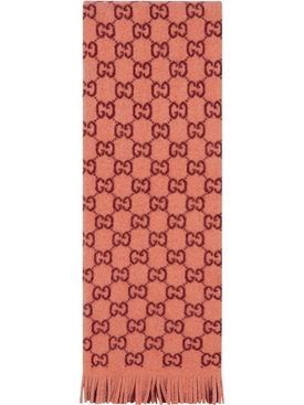 peach and burgundy GG jacquard print scarf