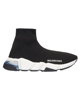 Balenciaga - Black And White Speed Light Clear Sole Sneakers - Men