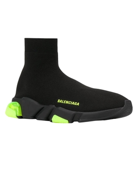 Black and neon yellow knit speed sneakers