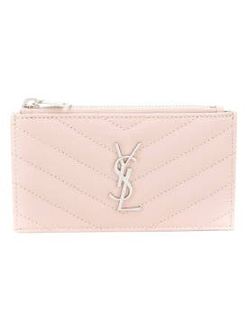 Saint Laurent - Light Pink Chevron Print Card Holder - Women