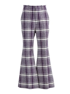 Gucci - Purple And White Check Print Pants - Women