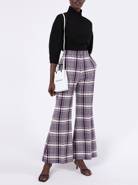 Purple and White Check Print Pants