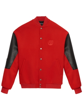 Red college bomber jacket