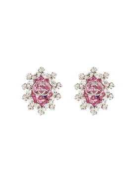 Gucci - Pink Crystal Gg Logo Clip On Earrings - Women