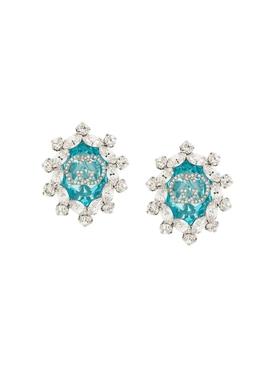 Crystal GG logo clip on earrings GREEN