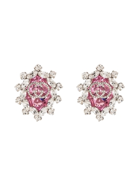 Crystal GG logo clip on earrings PINK