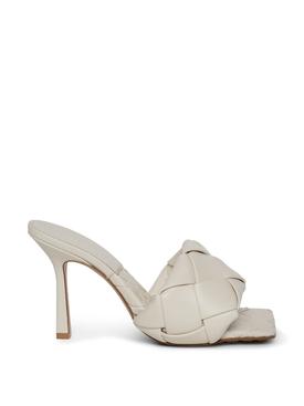 Rubber Sole Stretch Mule Sandal White