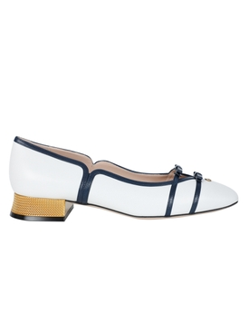 Gucci - White And Navy Low Ballerina Pumps - Women