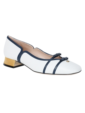 White and Navy Low Ballerina Pumps