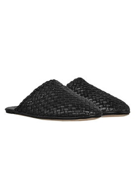 Intrecciato weave slippers BLACK