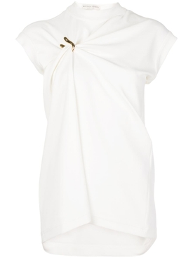 White gathered clasp top