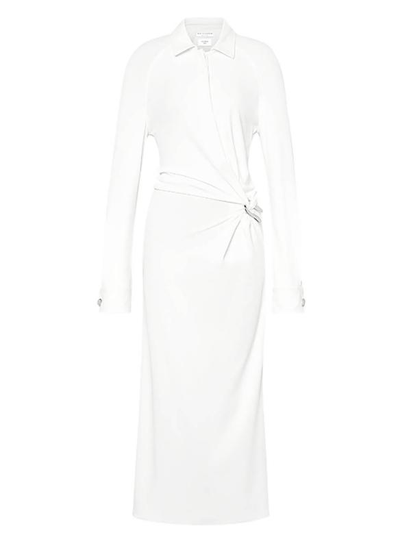 Bottega Veneta Women's Brooch Detail Shirt Dress In White
