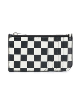 Black and White Checkered Zip Card Holder