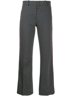 Monogram print boot-cut pants