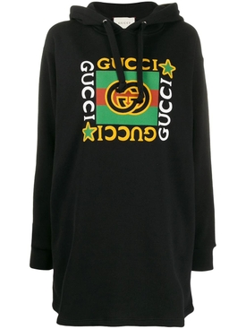 Multicolored print logo hoodie dress