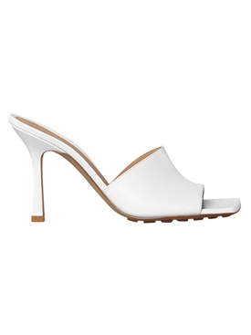 Rubber Sole Leather Stretch Mule Sandal OPTIC WHITE