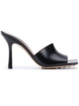 Rubber Sole Leather Stretch Mule Sandal BLACK