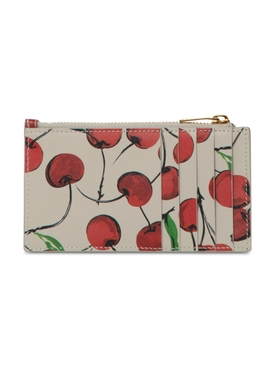 Cherry Print Leather Credit Card Case