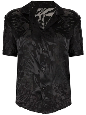 Black sheer print blouse