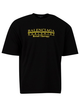 RETAIL THERAPY TEE BLACK AND YELLOW