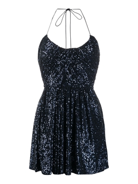 Navy Sequined Halter Mini Dress