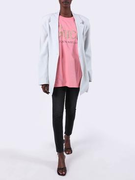 Pink Oversized Glitter Logo T-Shirt