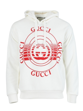 Cream cotton logo hoodie