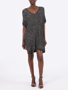 Black and Silver Sequin Kaftan Dress