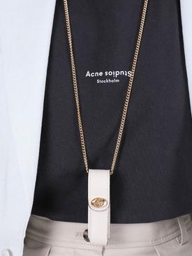 Leather logo lipstick holder necklace WHITE CRYSTAL