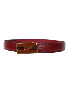 Azalea Leather Logo Belt CHERRY RED