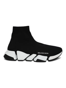Speed LT High-Top Knit Sneaker Black and White