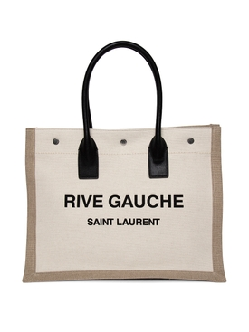 LINEN AND LEATHER RIVE GAUCHE TOTE BAG NATURAL BEIGE