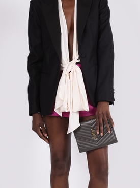 Chevron quilt leather clutch