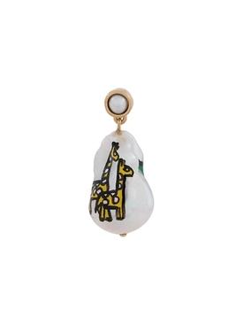 Pearl Drop Painted Earrings WHITE/ GIRAFFES