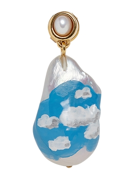 Baroque pearl drop earring BLUE