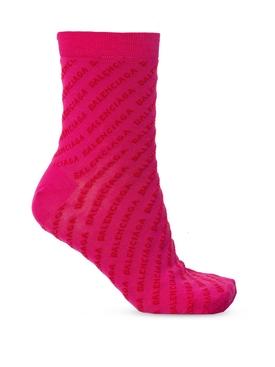 Magenta and red logo socks