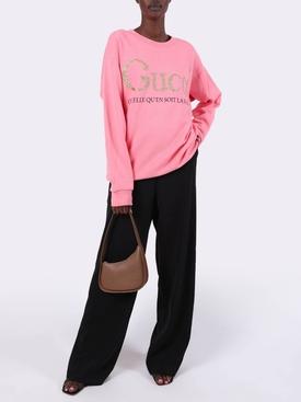 Oversized Glitter Logo Sweatshirt PINK ROSEBUD