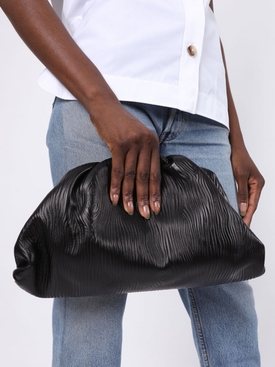 Textured black leather pouch