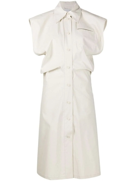 Bottega Veneta - White Sleeveless Buttoned Midi Dress - Women