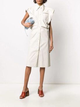 White Sleeveless Buttoned Midi Dress