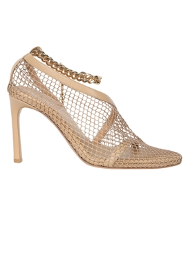 Mesh and chain heel BEIGE PONY GOLD