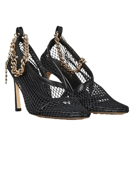 Mesh and chain heel NERO GOLD