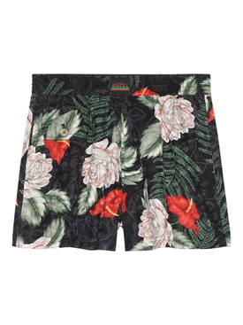 Hawaiian-print silk shorts